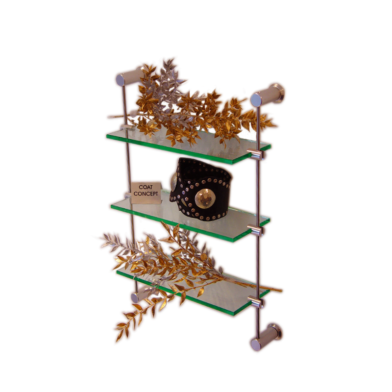Advanced Display Systems | Glass Wall Mounted Rod Shelving