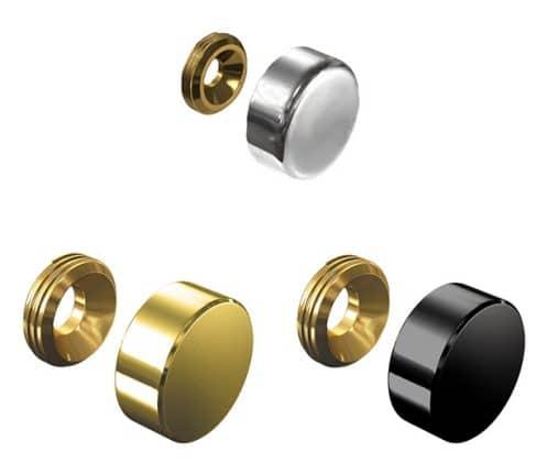 Wall-mount-sign-holders_designerscrew-cap-aluminium-gold-black